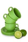 filiżanki zieleni wapno Zdjęcie Royalty Free