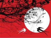Filiais & andorinhas da silhueta ilustração stock