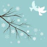 filiais da neve com pássaros ilustração stock