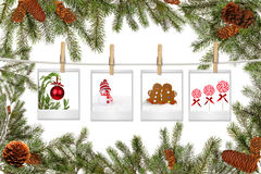 Filiais de árvore e espaços em branco verdes da película com Natal Imagens de Stock Royalty Free