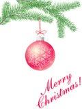 Filial de árvore do Natal com uma esfera Ilustração Royalty Free