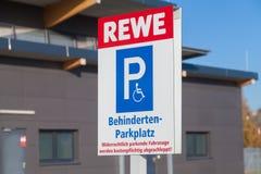 Filial de la cadena de supermercados alemana, REWE Fotos de archivo libres de regalías