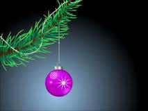 Filial de uma árvore de Natal com esferas do Natal. Imagem de Stock