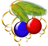 A filial de uma árvore de Natal com flâmula de papel Imagens de Stock Royalty Free