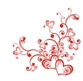 Filial decorativa com corações ilustração do vetor