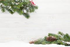 Filial för julgranträd som täckas av snö royaltyfri fotografi