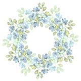 Filial med delikata blommor Vattenfärgkrans Rund ram för kort 3 Royaltyfri Foto