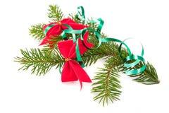 Filiale decorata dell'albero di Natale fotografia stock