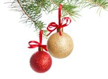 Filiale dell'albero di Natale con le sfere fotografia stock libera da diritti