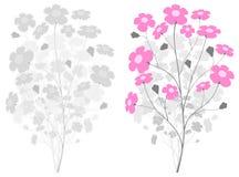 filialen blommar grå pink stock illustrationer