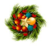 Filialen för glad jul för kransen sörjer den realistiska trädet Royaltyfri Foto
