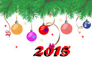 Filialer för julgranträd på en vit bakgrund med färgrikt Royaltyfri Fotografi