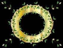 filialer inramniner guld- olivgrön stock illustrationer