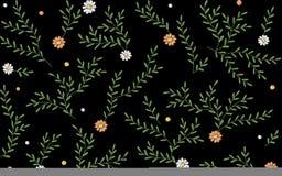 Filialer lämnar risgräsörter den sömlösa modellen Illustration för tryck för textil för garnering för broderivektorblomma på vektor illustrationer