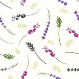 Filialer och sömlös bakgrund för blommor stock illustrationer