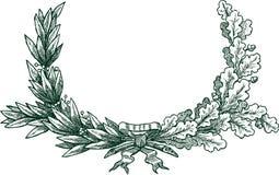 Filiali della quercia e dell'alloro Immagini Stock Libere da Diritti