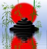 Filiali e pietre di bambù del cairn Royalty Illustrazione gratis