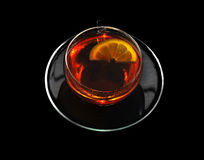 Filiżanka czarna herbata i cytryna Fotografia Royalty Free