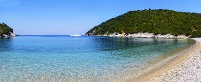 Filiatro海滩在伊塔卡希腊 库存照片