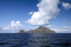 Filicudi, one of Aeolian islands. Look at the island of volcanic origin, Filicudi, Aeolian Island Royalty Free Stock Images