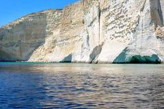 Filidas cliffs and caves near Kleftiko, Melos Greece Stock Photos
