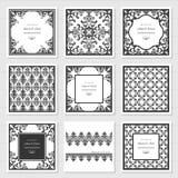 Filigraan geplaatste kaders en decoratieve panelen Laser scherp ontwerp De uitnodiging van het huwelijk damast wijnoogst stock illustratie
