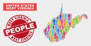 Filigrana ocidental de Virginia State Map Population Demographics e do Grunge ilustração royalty free