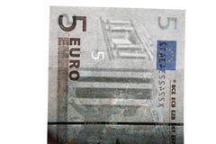 Filigrana su 5 euro banconote Fotografia Stock Libera da Diritti