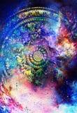 Filigrane blom- prydnad med mandalaform på kosmisk backgrond, datorcollage vektor illustrationer