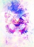 Filigrane blom- prydnad och fjäril kosmisk backgrond, datorcollage vektor illustrationer
