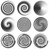 Filigrane en filigrane de cercle en spirale rond réglé, bruissement dynamique du vecteur ENV, protection de contrefaçon de logo d Photos stock