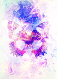 Filigrane floral ornament and Butterfly. cosmic backgrond, computer collage. Stock Photography