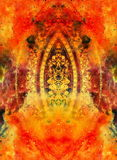 Filigrane floral ornament with mandala shape on cosmic backgrond, computer collage. Fire effect. Stock Image