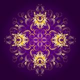 Filigree background with lace ornament. Vintage floral pattern on a dark purple background. Vector EPS 8 Stock Photography