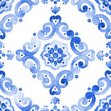 Filigree cobalt blue ornament seamless pattern royalty free stock image