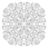 Filigree floral pattern. Floral vector pattern. Filigree ornament. Black and white template for wallpaper, textile, shawl, carpet Stock Photos