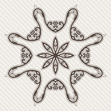 Filigree Flower Henna Pattern. In Contrasting Colors Royalty Free Stock Photo