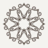 Filigree Flower Henna Pattern. In Contrasting Colors Royalty Free Stock Photography