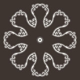 Filigree Flower Henna Pattern. In Contrasting Colors Royalty Free Stock Images