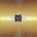 Filigree frame on golden geometrical background Stock Images