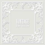 Filigree frame paper cut out. Baroque vintage design. Vector stock illustration