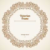 Filigree  frame in Victorian style. Filigree  frame in Victorian style in shape of a circle. Ornate element for design, place for text. Ornamental drown pattern Royalty Free Stock Photo