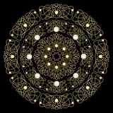 Filigree golden circle patterns with pearl. Concentric luxurious decoration on black background. Stock Images