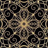 Filigree golden ornament, tile in art deco style, metallic flourish patterns with 3d illusion on black background. Vintage. Victorian decoration. Vector eps 10 Stock Photos