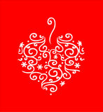 Filigree Heart on Red. Heart of white filigree swirls on a red background Stock Photos