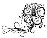 Filigree hibiscus. Decoration, tribal and tattoo style, black Stock Photos