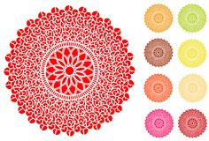 Filigree Lace Doilies. Vintage lace doilies in 9 colors for sewing, fashion, arts & crafts, celebrations, scrapbooks, cake decorating. EPS8 organized in groups Royalty Free Stock Photos