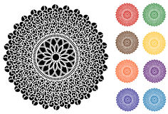 Filigree Lace Round Doily, 9 Jewel tones. Filigree design doily in black, red, green, gold, brown, orange, purple, blue and aqua for scrapbooks, celebrations Stock Photo