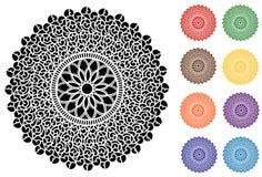Filigree Lace Round Doily, 9 Jewel tones. Filigree design doily in black, red, green, gold, brown, orange, purple, blue and aqua for scrapbooks, celebrations Stock Photo