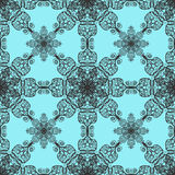 Filigree lattice. Intricate filigree-style seamless design on a turquoise blue background Royalty Free Stock Photos